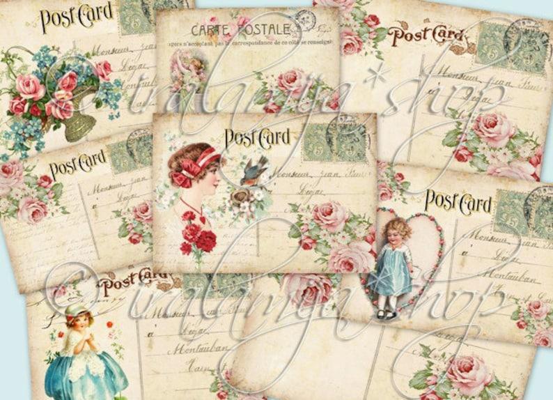 VINTAGE POSTCARDS collage Digital Images -printable download file-