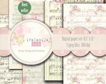 """Printable Sheet Music / MUSIC SHEET  8.5"""" x 11"""" Music Sheet backgrounds / Digital Images / printable Music Sheet / Sheet Music / Paper"""