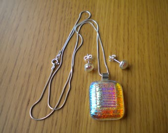 Beautiful Sterling Silver and Dichroic Glass Pendant and Stud Earring Set