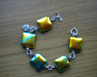Chunky Sterling Silver and Dichroic Glass Bracelet