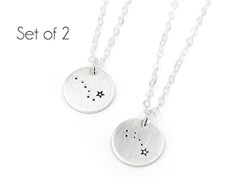 Tiny Sterling Silver Constellation Necklace Set, Ursa Major and Ursa Minor, Gift for Mom, Mothers Day, Big Dipper, Little Dipper