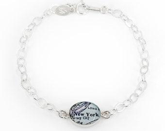 Sterling Silver NYC Map Bracelet, Birthday Gift, Travel Gift, Paper Anniversary, New York Bracelet