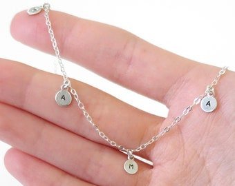 Tiny Letter Necklace Silver - Personalized Initials or Name - Sterling - Dainty
