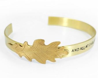 Brass Leaf Bracelet - And All At Once, Summer Turned Into Fall, Hand Stamped