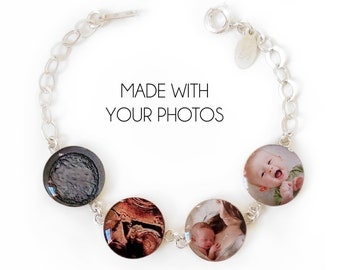 Sterling Silver Photo Bracelet, Journey of Life, Personalized Jewelry, Birthday Gift, Mother's Gift, IVF and Infertility Jewelry