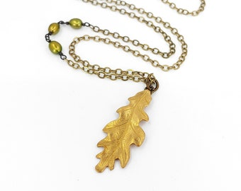 Small Brass Leaf and Pearl Necklace, Brass Oak Leaf, Antiqued Brass Chain, Fall Leaf Jewelry