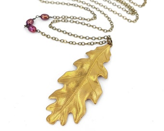 Large Brass Leaf and Pearl Necklace, Brass Oak Leaf, Antiqued Brass Chain, Fall Leaf Jewelry
