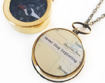 Small Compass Necklace, Never Stop Exploring, or Personalized Quote, Vintage Map, Working Compass, Graduation, Inspirational, Motivational