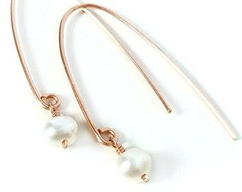 Rose Gold Earrings, White Pearl, Freshwater Pearl Earrings, Modern, Minimalist, Dangle, Wedding, Delicate, Gift for Her, Valentines Day