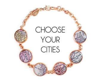 Rose Gold Map Bracelet, Custom Cities, City Bracelet, Personalized Jewelry, Birthday Gift, Travel Gift, Paper Anniversary, Long Distance