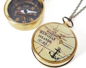 Hawaiian Islands Map Compass Necklace - Working Pocket Compass - Antique Map, Nautical, Brass Chain, Hawaii