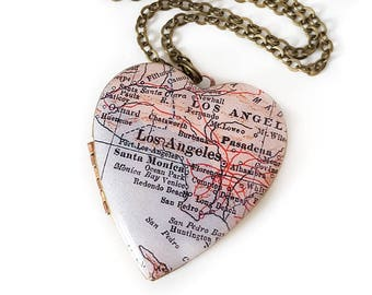 Los Angeles Necklace, Map Jewelry, Large Heart Locket, Vintage Map, Vintage Locket, California, Santa Monica, Map Jewelry, Gift for Her