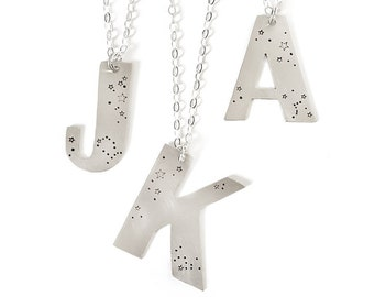 Large Custom Initial Necklace, Constellation Jewelry, Zodiac, Personalized, Letter, Sterling Silver, Star, Birthday, Birthday Gift