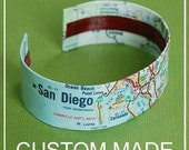 Custom Map Cuff Bracelet  - Choose Your City - Made to Order