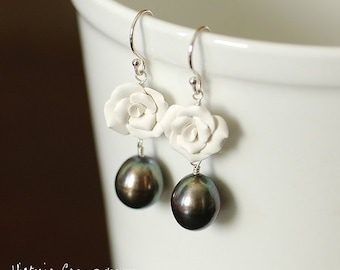 White Clay Rose and Dark Olive Pearl Drop Earrings, Sterling Silver, Freshwater Pearls, Hand Formed - Ready to Ship