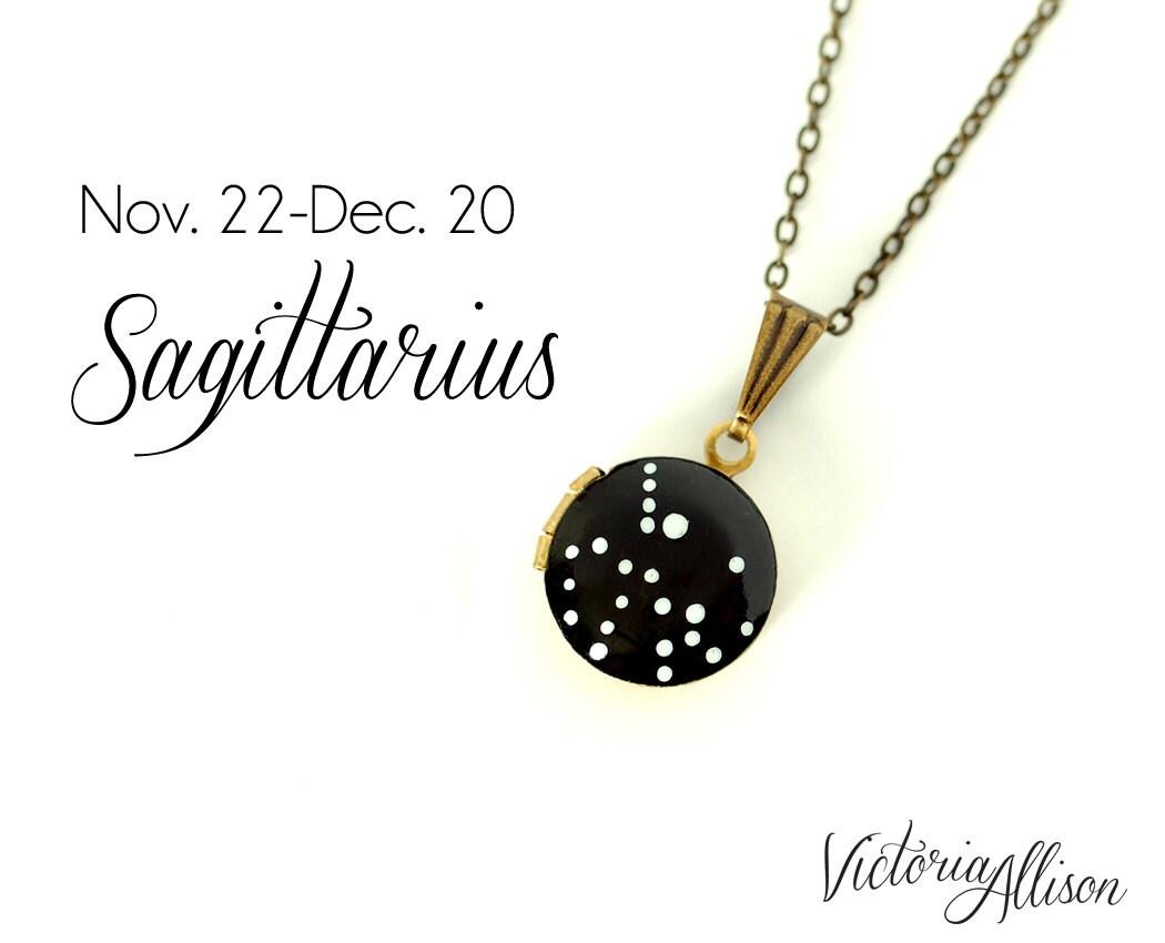 Constellation Necklace Zodiac Brass Chain Sagittarius Star Sign Small Working Compass November December Birthday Gift