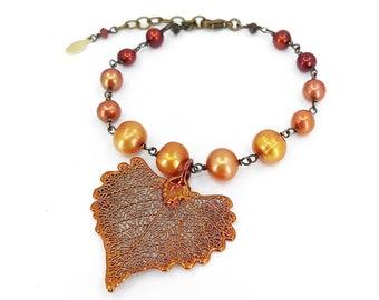 Reserved for MBG - Real Cottonwood Leaf Bracelet with Freshwater Pearls and Gemstones, Red, Orange, Copper, Brass