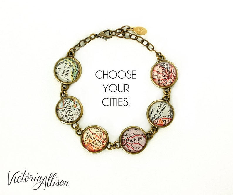 23 Best Travel Gifts for Her featured by top US travel blogger, Marcie in Mommyland: Map Bracelet Custom Cities City Bracelet Personalized image 0