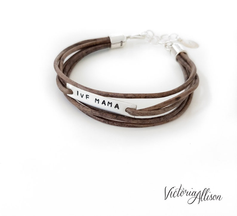 IVF Mama Bracelet Infertility Jewelry Light Brown Leather image 0