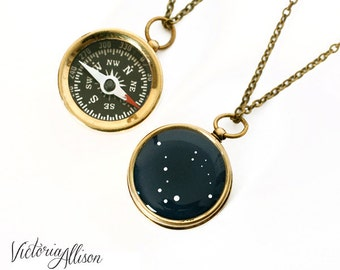 Small Ursa Major Ursa Minor Constellation Compass, Big Dipper, Little Dipper, Brass or Silver, Working Pocket Compass, Mother and Child