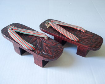 d30541ec3d5 Antique geisha slippers - carved wood with fabric straps
