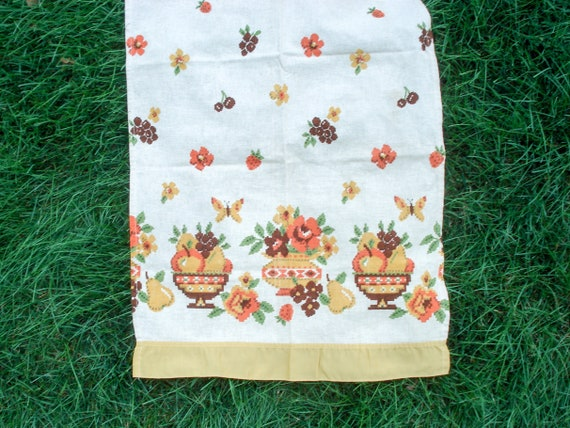 Flower and fruit kitchen curtains - 4 panels - 2 valences