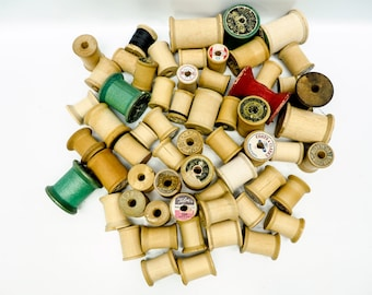 50 vintage wooden thread spools - most with labels