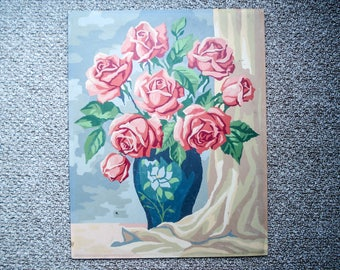 Vintage paint-by-number picture - still life with roses
