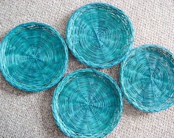 Instant wall art - aqua wicker collection - set of 4