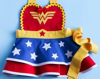 Wonder Woman Dress Up Apron for Little Girls // Princess Costume // Retro 50s Toddler Birthday Costume // Kids Superhero Baking Apron