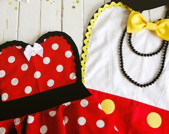 Birthday Costume Apron - Retro Apron - Ms. Mouse Womans Aprons - Vintage Apron Style - Pin up Rockabilly Cosplay Lolita - Womens Apron