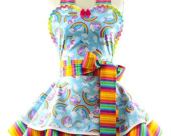 Volle Schürze - Regenbogen + Einhörner Schürzen für Frauen - 50er Jahre inspiriert Sommerfest, Grill, Küche & Gastgeberin Schürzen für Frauen von BambinoAmore