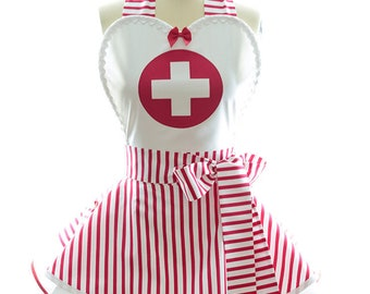 Retro Apron - Nurse Womens Costume Apron - Bridal Shower, Bachelorette Party, Kitchen, Hostess, & Cosplay Aprons for Women by BambinoAmore