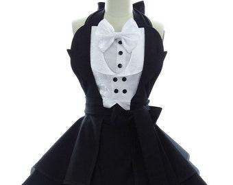 Retro Apron - The Gotham Penguin Tuxedo Womens Costume Apron - Kitchen, Hostess, & Cosplay Aprons for Women by BambinoAmore