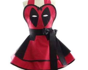 Deadpool Costume Apron - Retro Womens Costume Apron - Kitchen, Hostess, & Cosplay Aprons for Women by BambinoAmore
