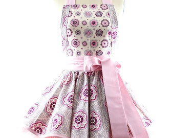 """50s Inspired Full Apron - Raspberry Floral Aprons for Women - """"Ava"""" Summer Party, BBQ, Kitchen & Hostess Aprons for Women by BambinoAmore"""