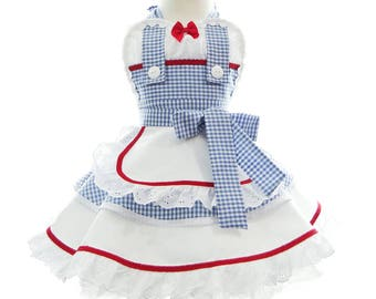 Children's Apron - Dorothy Costume Apron for kids - Dress Up Clothes - Cute Girls Wizard of Oz Princess Costume Apron for Dress Up & Play