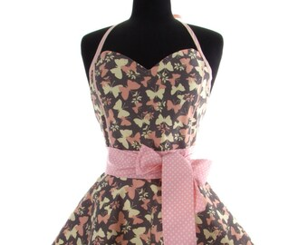 Pin Up Apron - Spring Butterflies Double Skirt Bambino Amore Sweetheart PinUp Apron