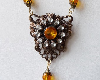 Vintage Button Filigree Wrapped Pendant Necklace with Gold Crystals