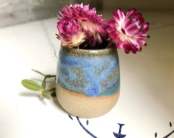 Miniature pottery - tiny planter in bluest on buff clay