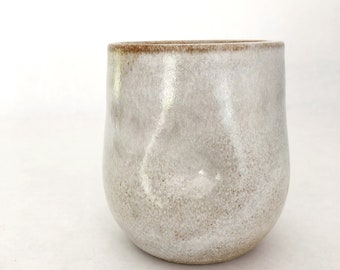 Dimple vessel - Buff stoneware clay with White glaze - Vase, Carafe, Cup