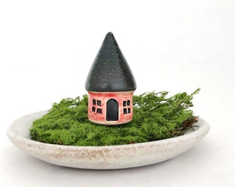 Micro miniature house - one miniature fairy cottage, white clay, stamped door and windows, dark roof, red wash