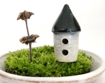 Micro miniature house - one miniature fairy cottage, white clay, carved holes, dark roof, blue wash