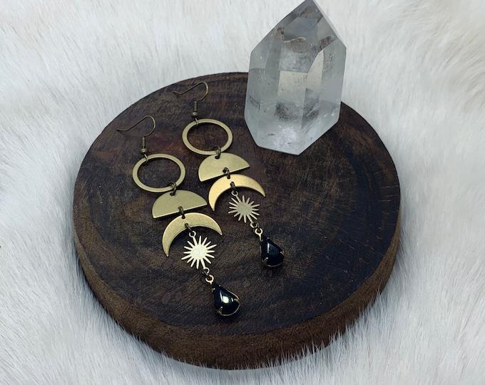 MIRRAH long dangle cosmic brass earrings