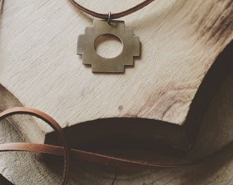 CHAKANA CHOKER handcut brass deerskin suede cord