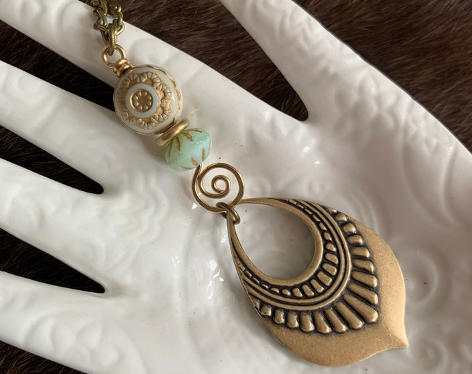 GYPSY PETAL brass wirework swirl necklace bohemian style cream and blue