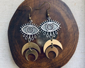TERELÚ antiqued brass and silver dangle earrings