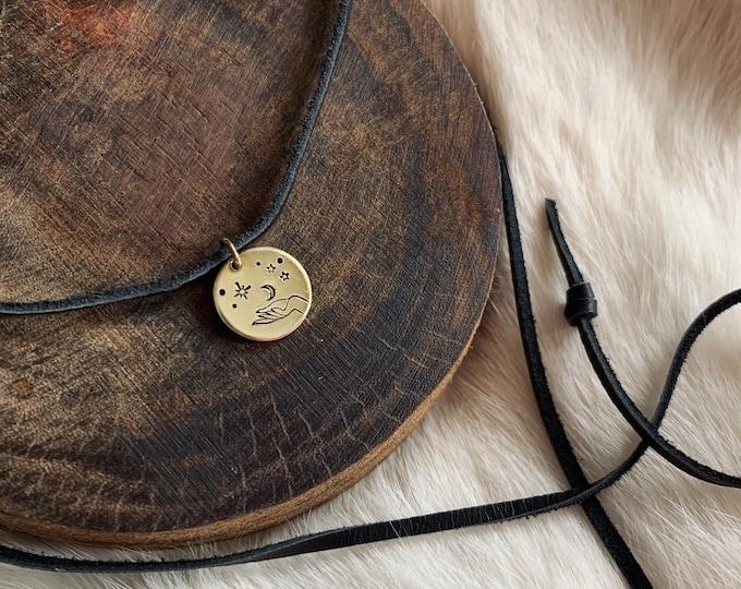 MAKE MAGIC CHOKER stamped brass coin deerskin suede cord