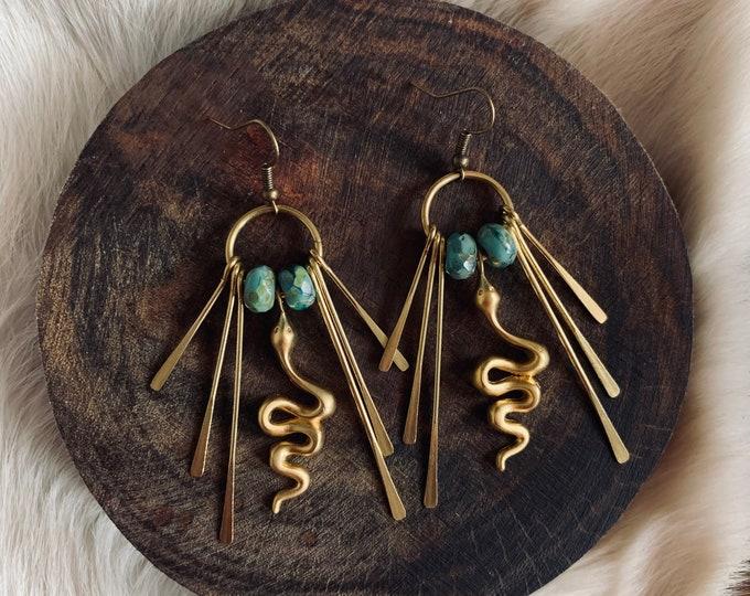 SLOAN antiqued brass fringe snake earrings