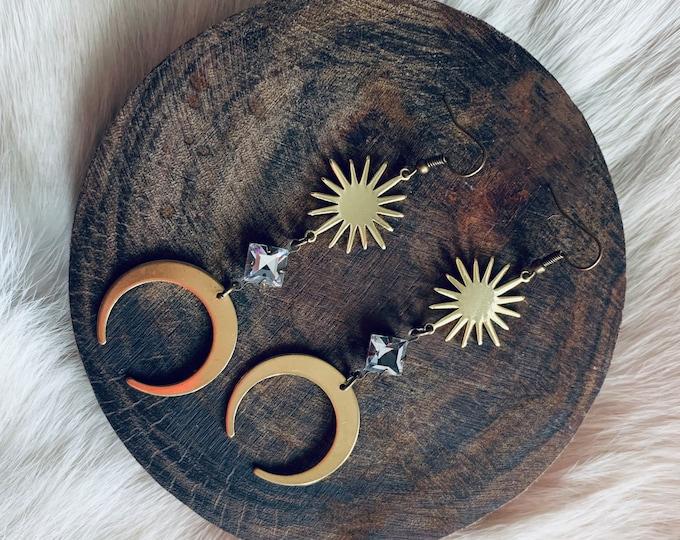 RAFAELLA antiqued brass cosmic dangle earrings